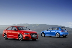 Audi RS 3 Sedan, Static photo Colour: Catalunya RedAudi RS 3 Sportback, Static photo, Colour: Ara Blue